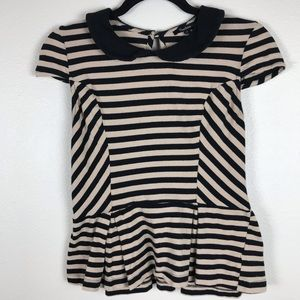 3/$20 Monteau Peter Pan Peplum Striped Top
